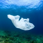 A discarded plastic garbage bag floating next to a tropical coral reef in the ocean